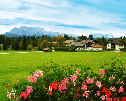 Ferienwohnung in Krün, Karwendel, Zugspitzblick 5 ***** Sterne, Ausblick