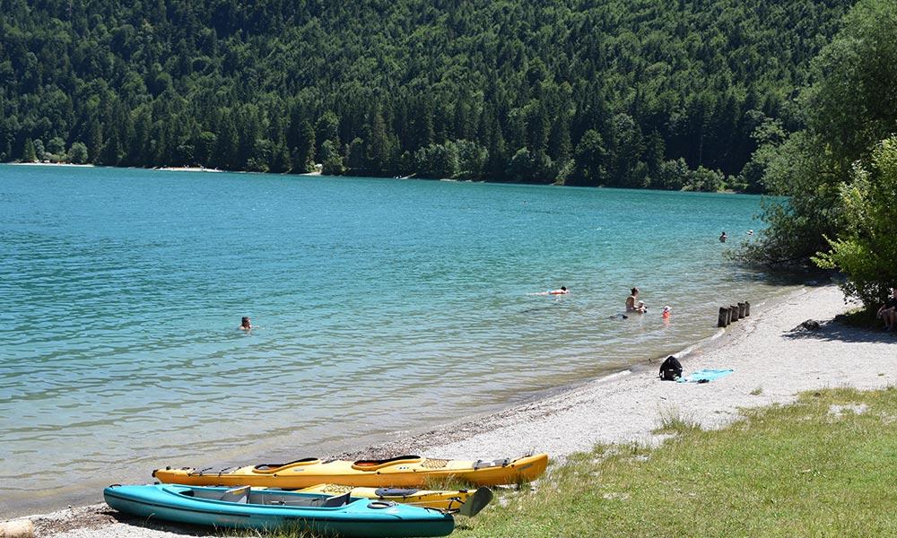Walchensee Alpensee zum baden - Kajak - Kiten - Windsurfen